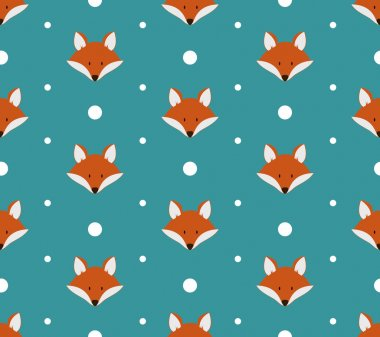 Seamless pattern with cute foxes.