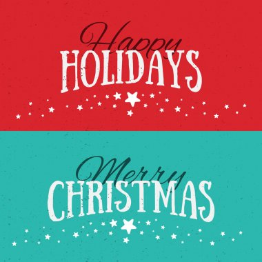 Illustration of colorful banners with Happy Holidays