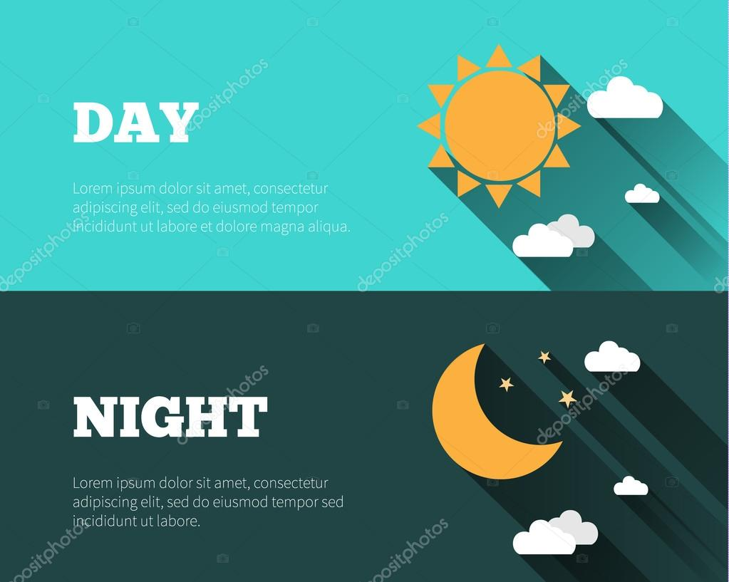 Sun, moon and stars, clouds icons