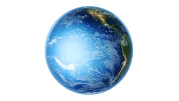 Erde südliche Hemisphäre rotiert auf weiß (Schleife)