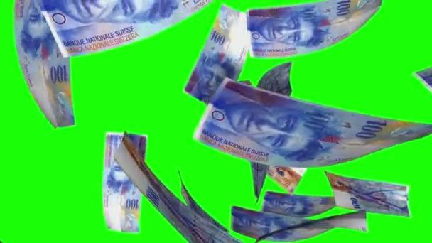 Falling Swiss Francs (Loop on Greenscreen)