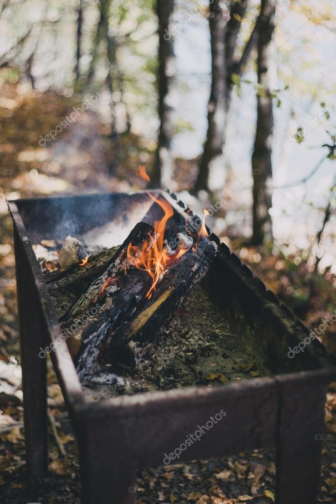 Old BBQ with fire on the forest background