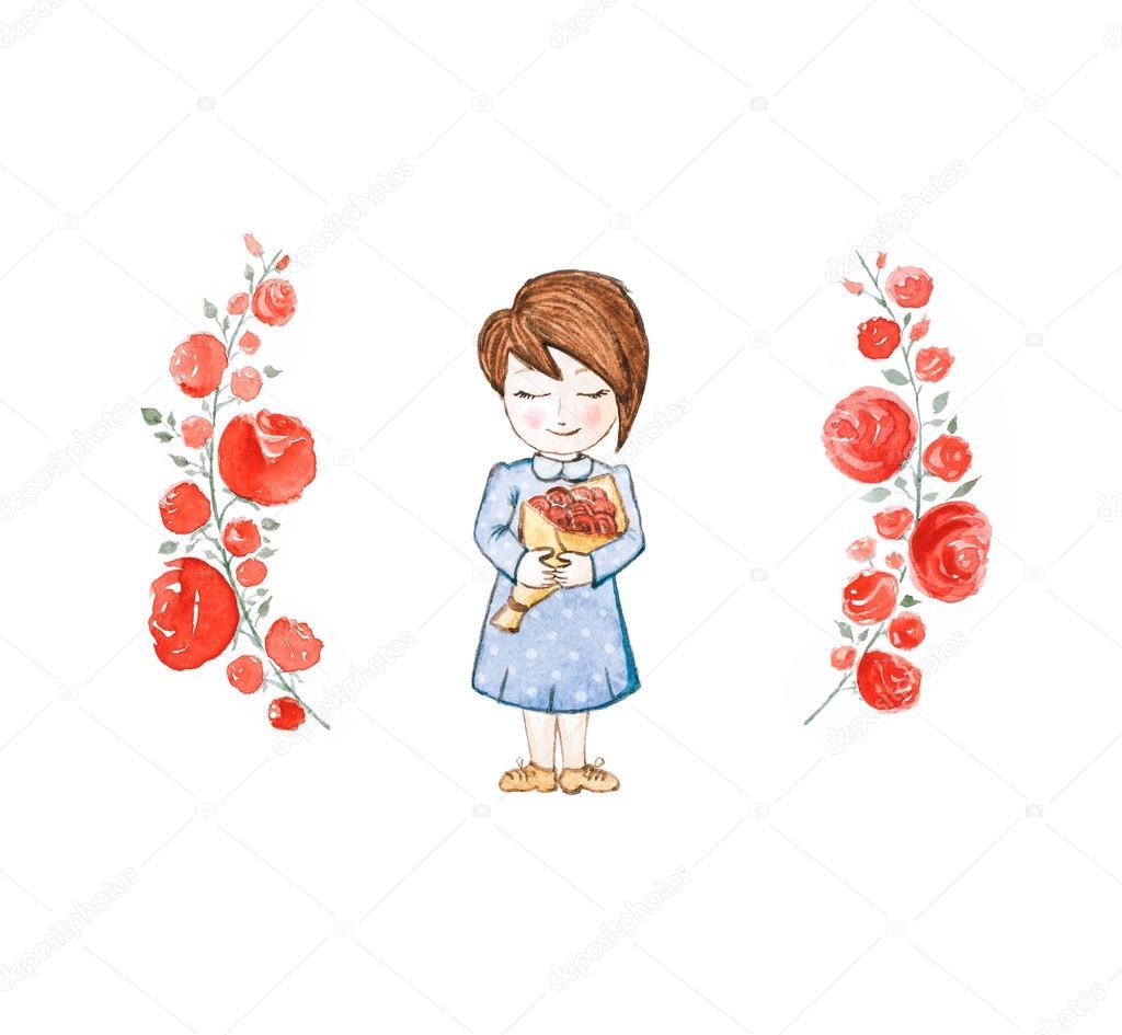 7986b566135 Aquarelle petite fille vêtue d une robe bleue avec des roses rouges isolés–  images de stock libres de droits
