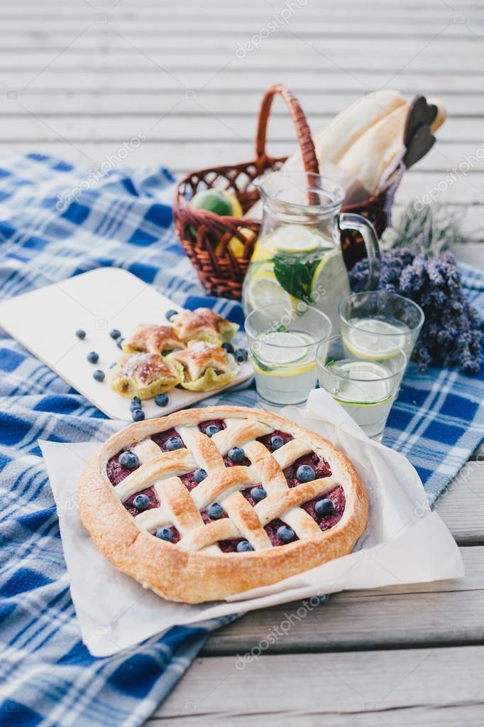 Cozy picnic near lake