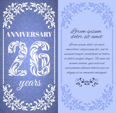 Luxury template with floral frame and a decorative pattern for the 26 years anniversary.