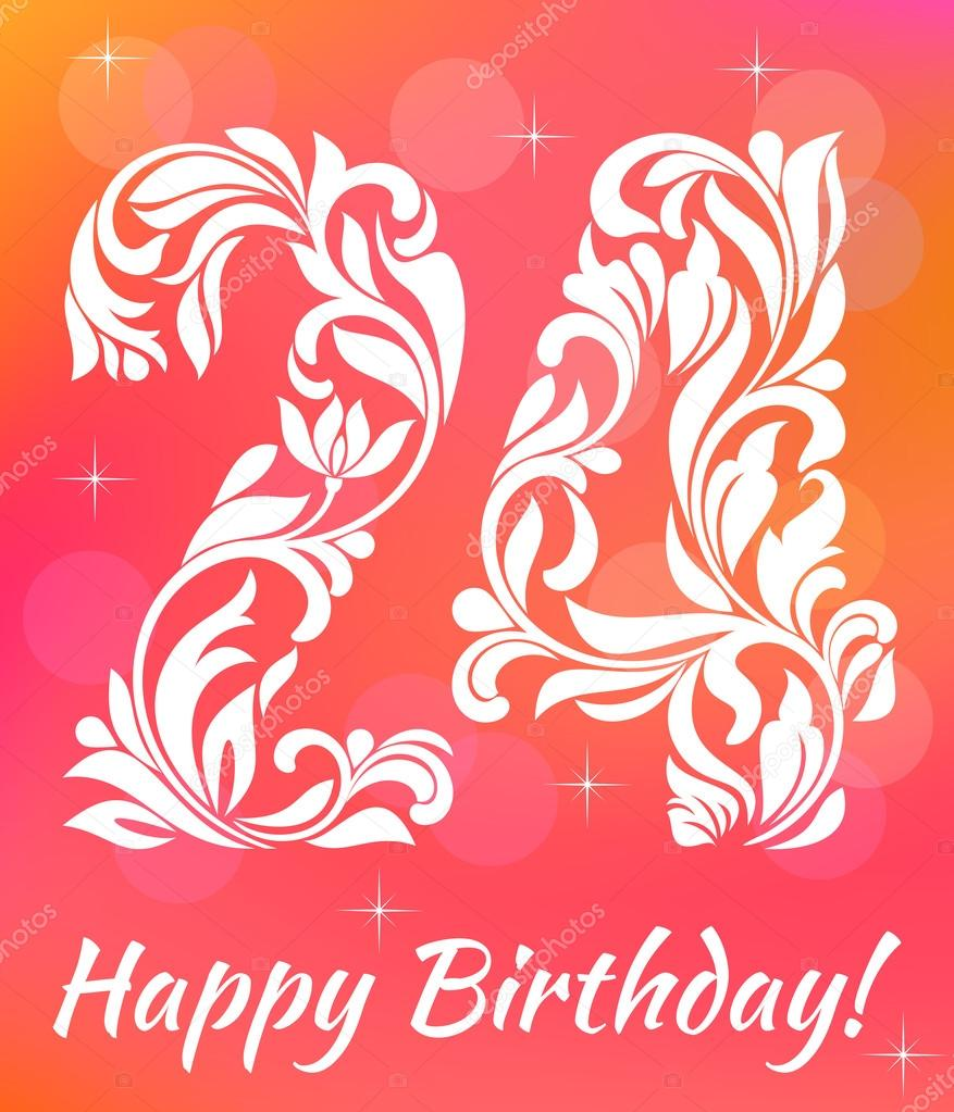 Bright Greeting Card Invitation Template Celebrating 24 Years Birthday Decorative Font With Swirls And