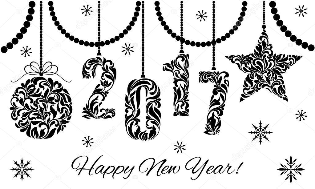 белые с новым годом картинки чёрно