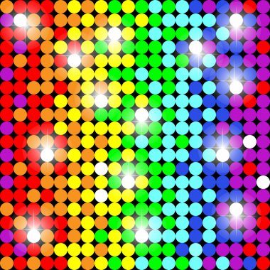 Seamless pattern with colorful dots. Style disco