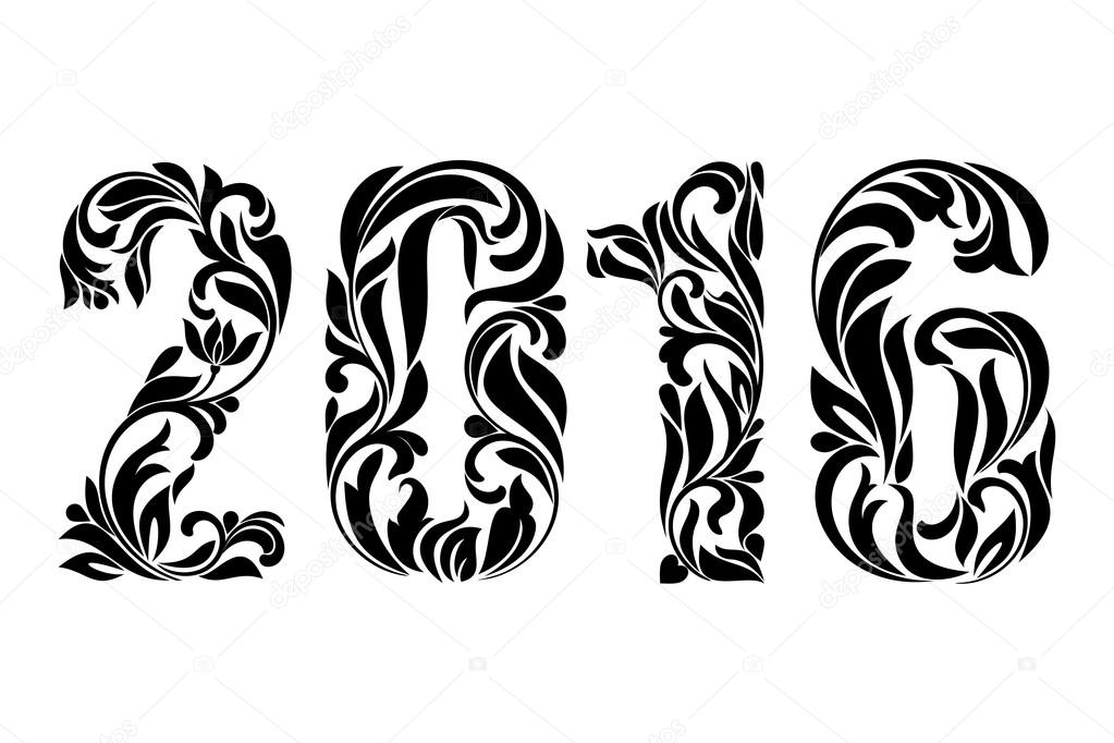 decorative fonts 2016 decorated with a decorative pattern for ha stock image - Decorative Fonts