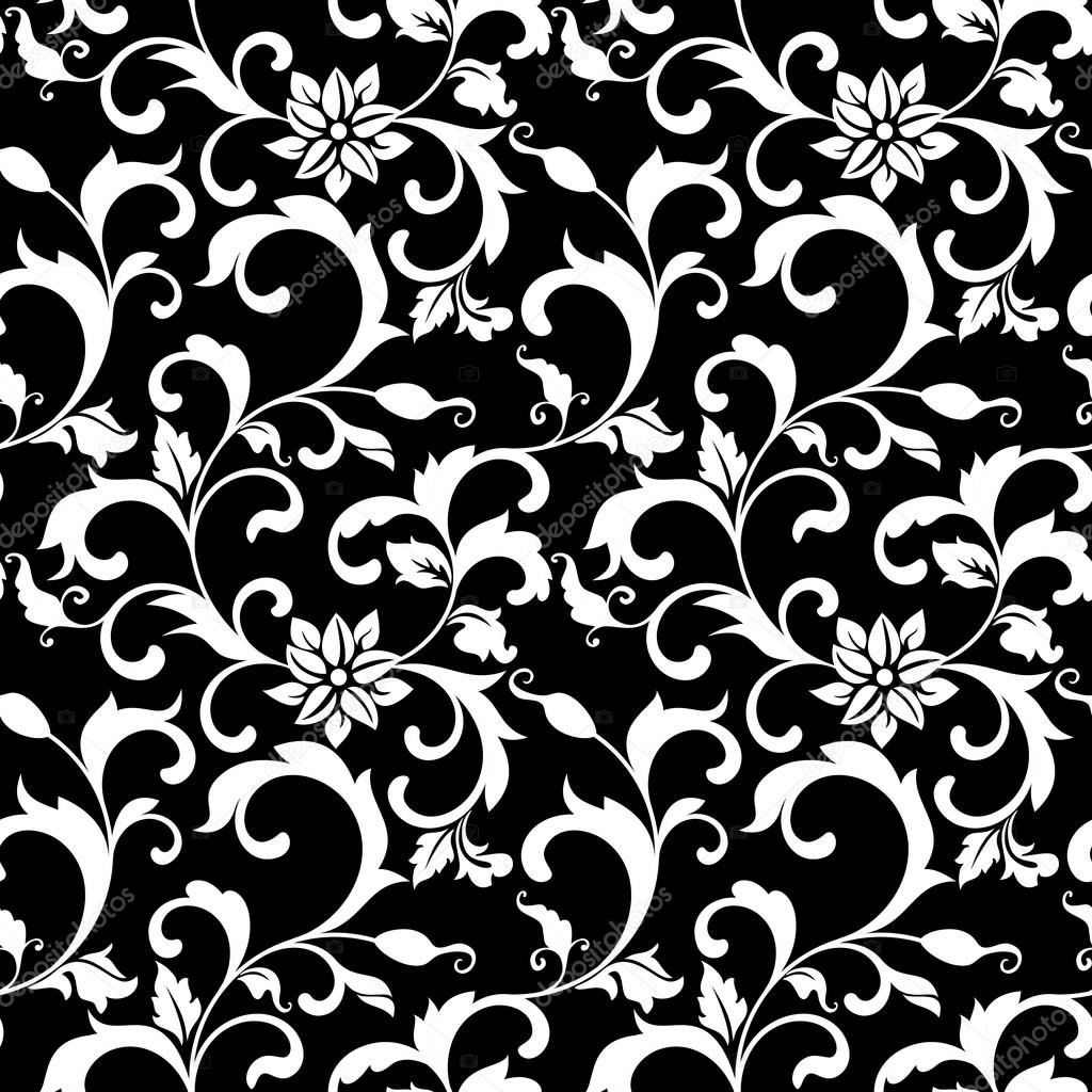 Elegant seamless pattern with decoration flowers on a black back