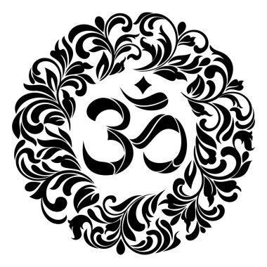 Om symbol Yoga or Pranava of floral wreaths - frame