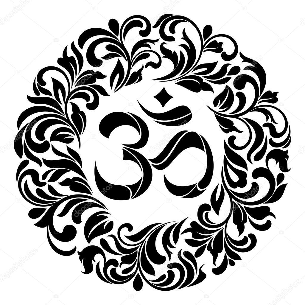 Om symbol yoga or pranava of floral wreaths frame stock vector om symbol yoga or pranava of floral wreaths frame stock vector buycottarizona