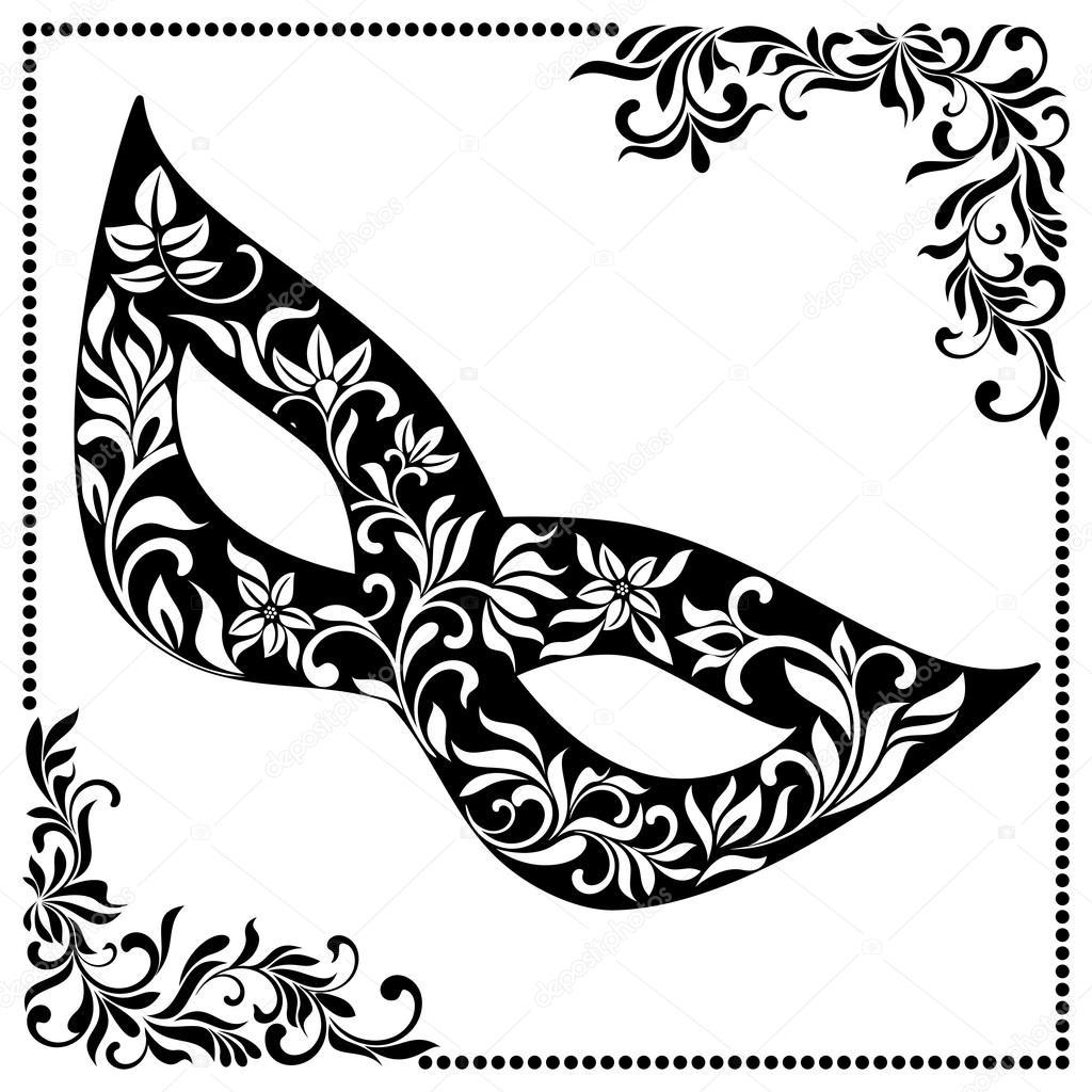 Máscara de carnaval elegante tracería floral en el marco de la ...