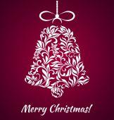 Pohlednice: Veselé Vánoce! Vánoční zvonek z květinový ornament