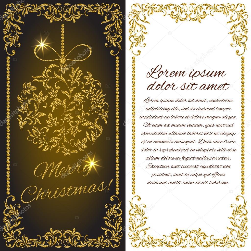 Elegante Weihnachts Postkarte: Ball mit gold Glitter aus ein ...