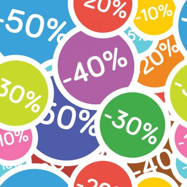 Vector seamless pattern with different discounts
