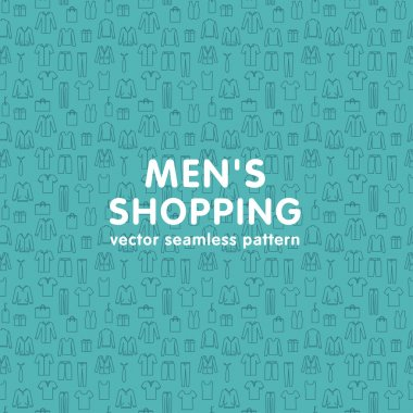 Vector seamless pattern on men's shopping theme