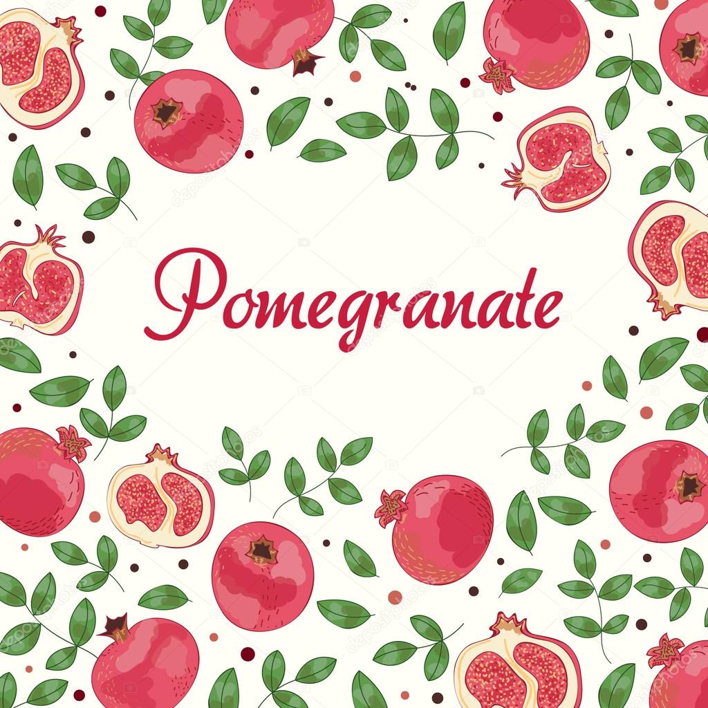Vector banner with pomegranate background