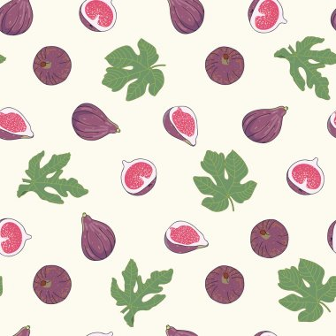 Seamless vector pattern with figs on the light background.