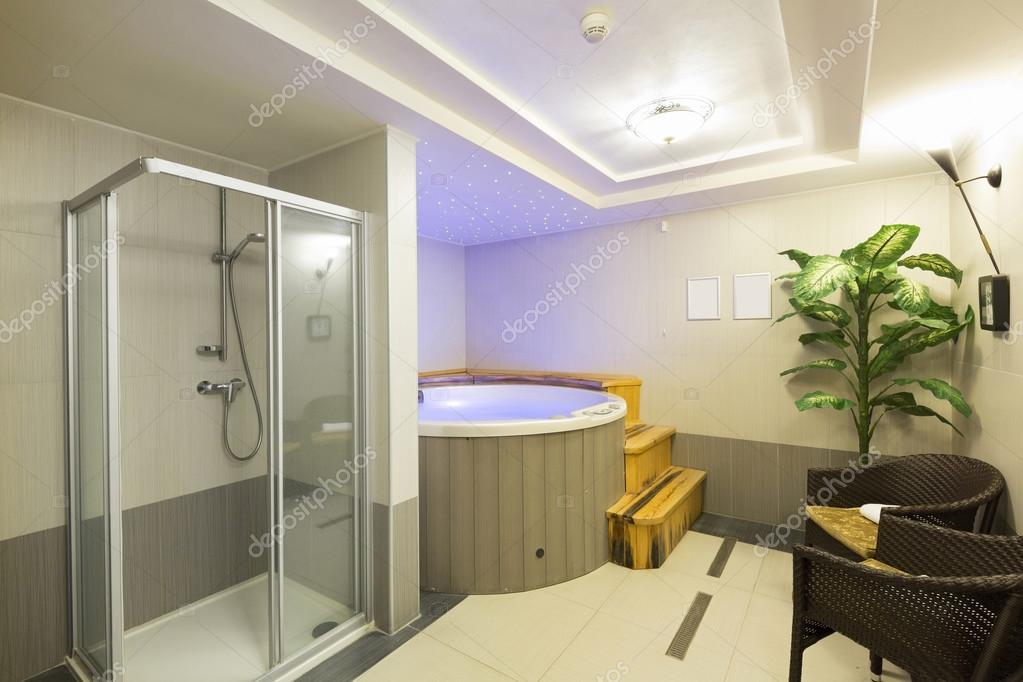 Interior of a hotel spa center with shower and jacuzzi for Jacuzzi para interior