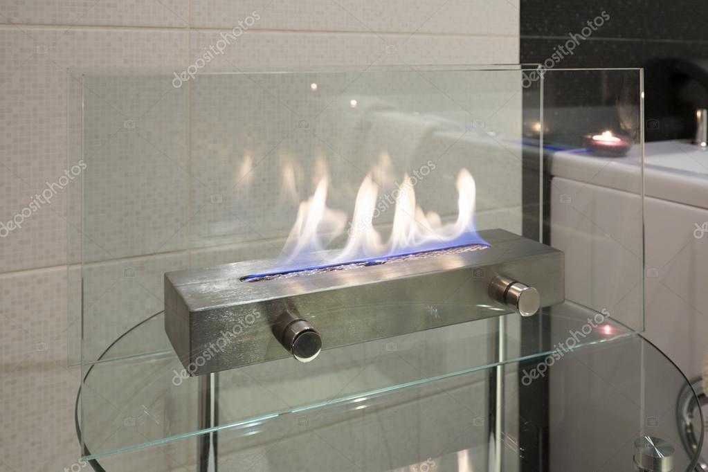 Home Decoration   Portable Glass Fireplace U2014 Stock Photo