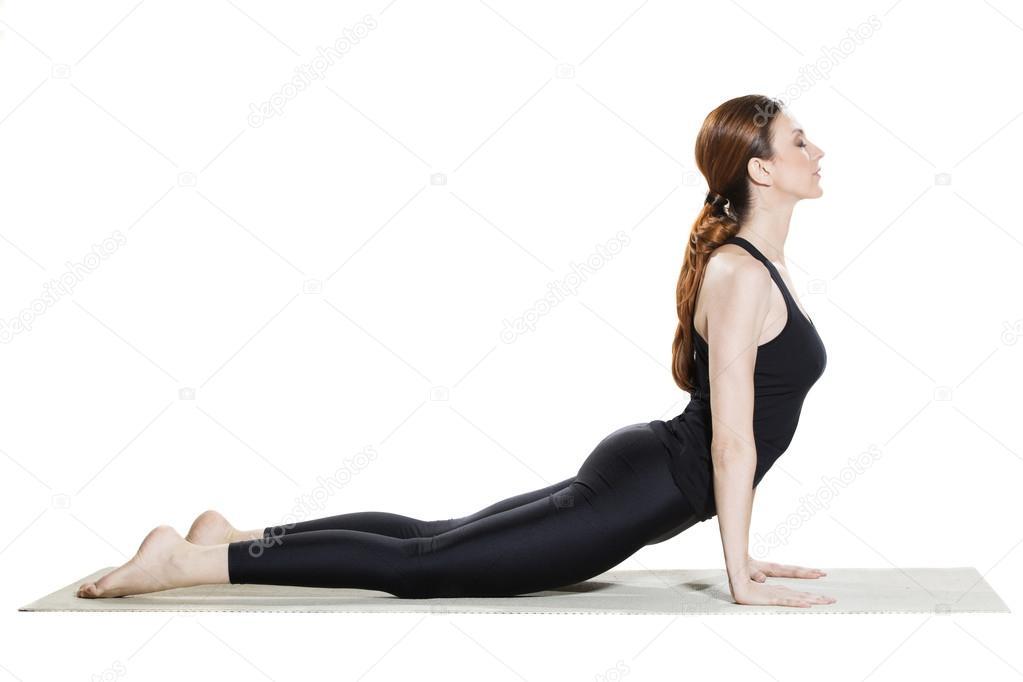 Yoga postura de la Cobra - Bhujangasana — Fotos de Stock © rilueda ... ceebf1321044