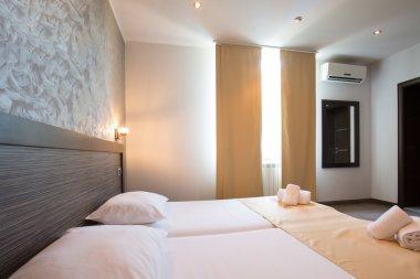 Modern beautiful hotel bedroom interior