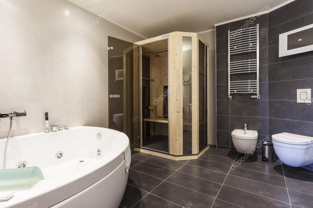 Badkamer Met Sauna : Moderne badkamer met sauna u2014 stockfoto © rilueda #55157097