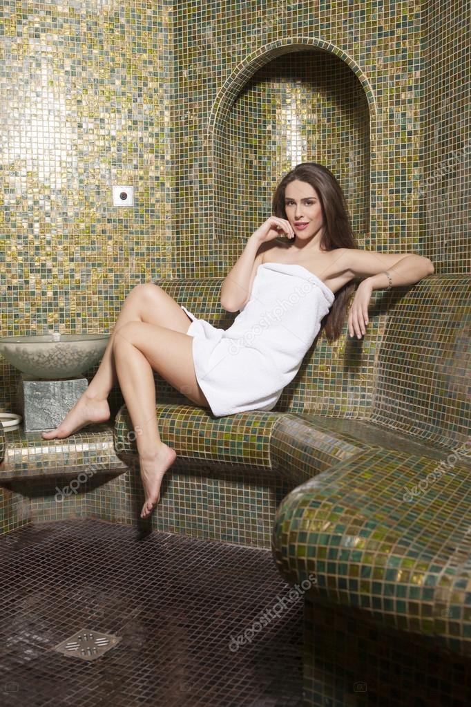 c02c9d52e26 Attractive woman relaxing in turkish bathroom — Stock Photo ...