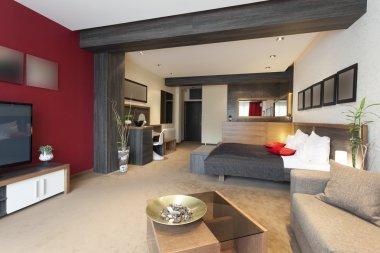 Interior of a luxury spacious hotel room