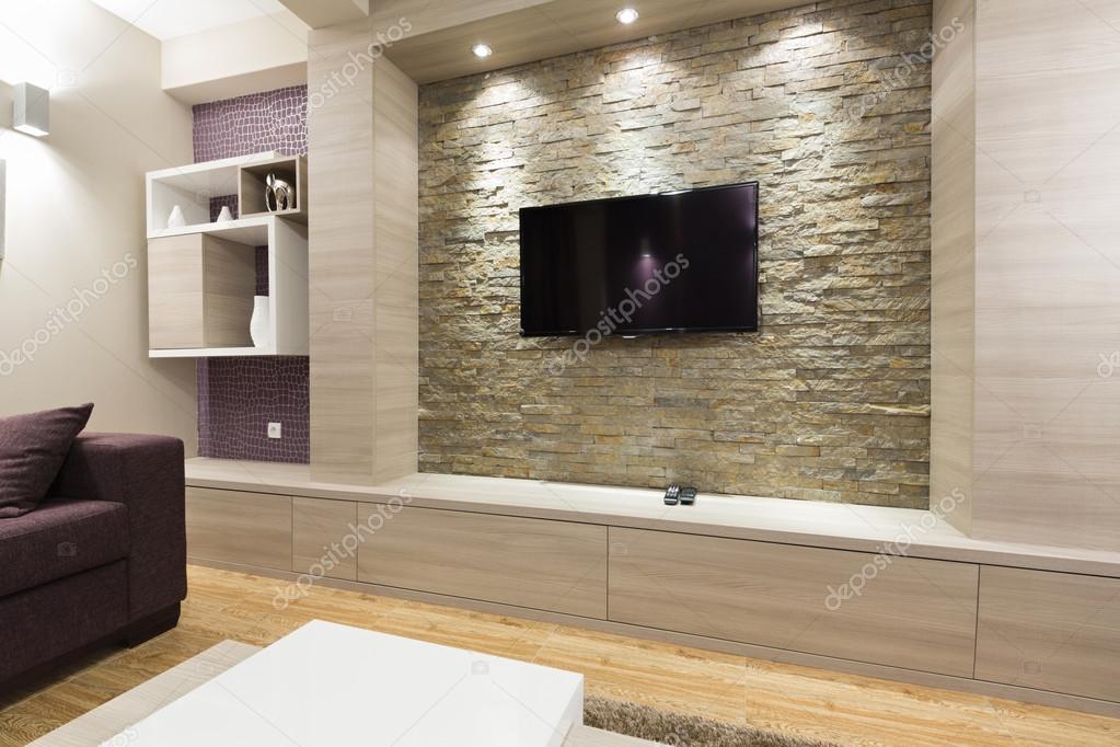 Moderne Wohnzimmer Interieur   Tv Auf Ziegelmauer U2014 Stockfoto