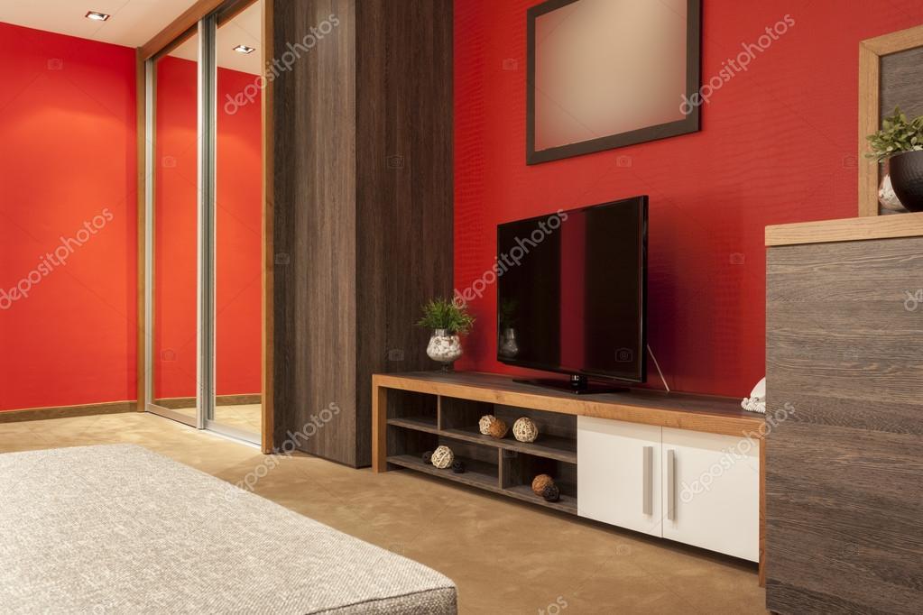 Big TV in modern apartment