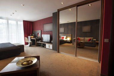 Modern luxury hotel room interior