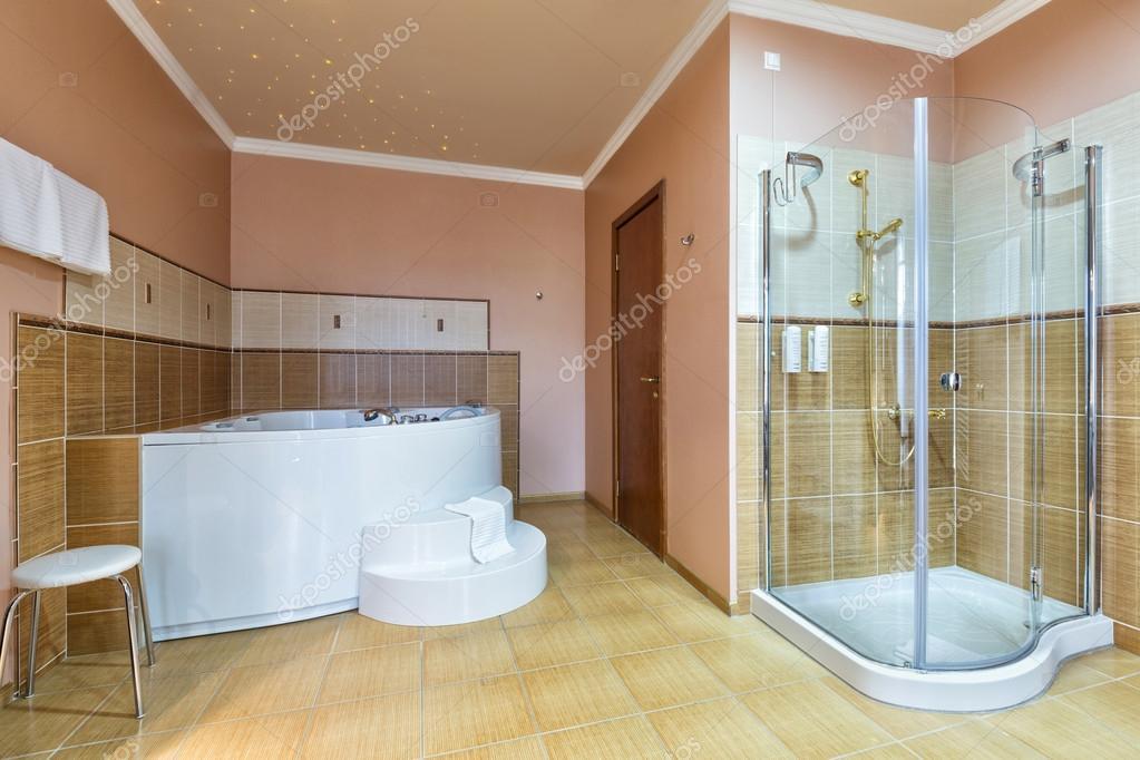 Intérieur d\'une salle de bains avec jacuzzi et douche — Photographie ...