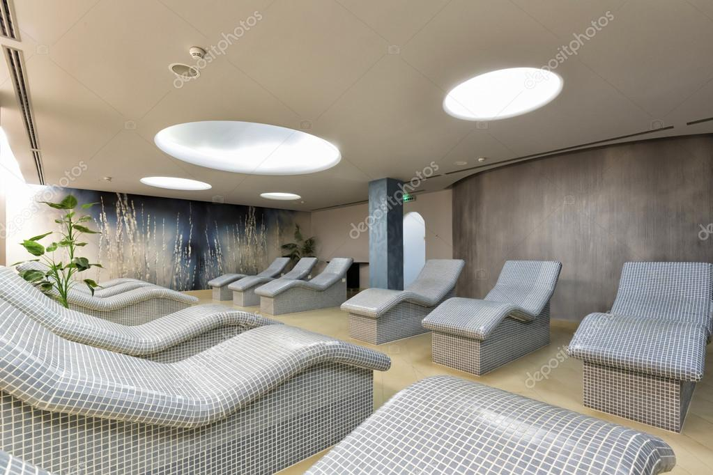 Heated lounge chairs at spa center Stock Photo rilueda 84710840