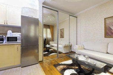 Modern apartment interior with kitchen