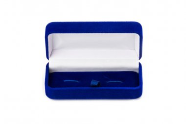 Opened present box for jewerly on white backgroun