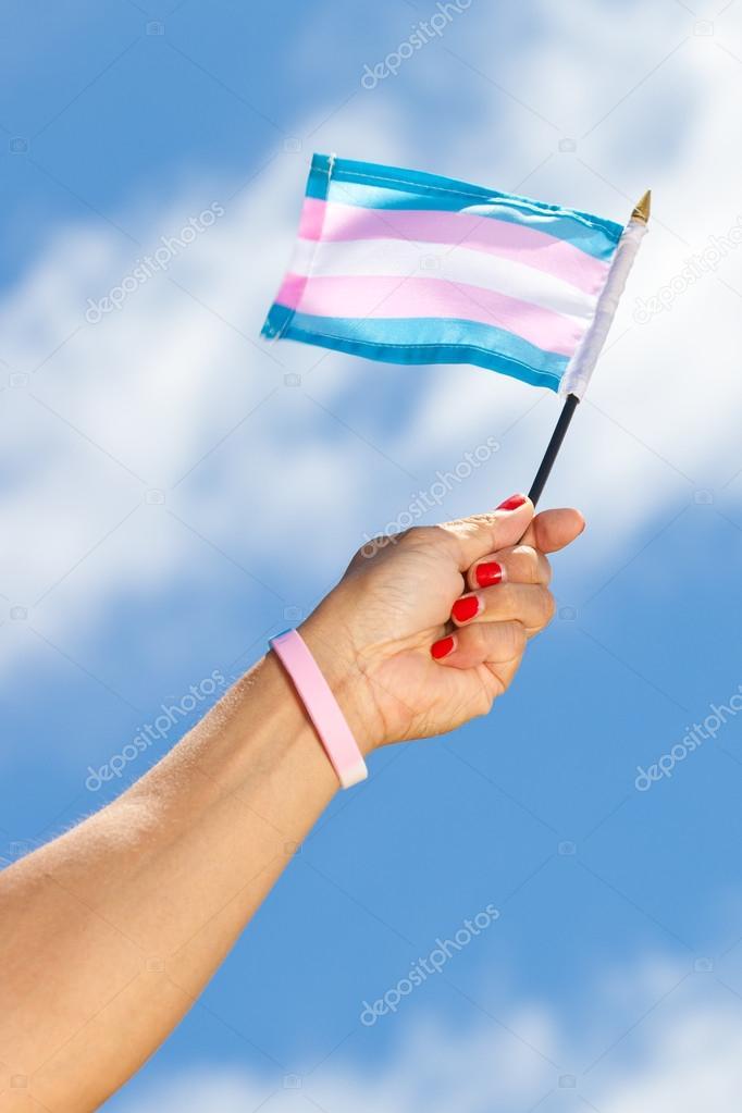 Hand Holding Transgender Flag