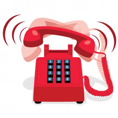 Ringing red stationary phone with button keypad. Vector illustration. clip art vector