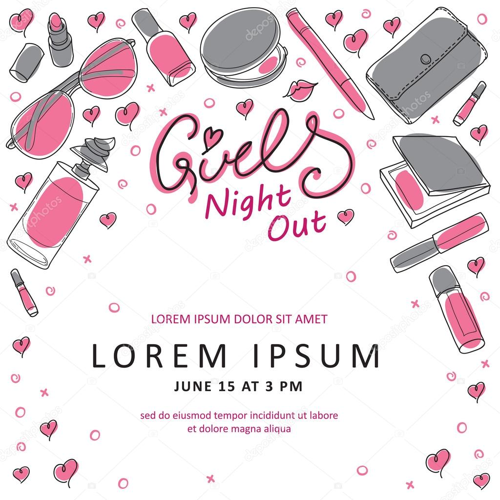 Girls Night Out Party Invitation Card Design in Vector – Party Invitation Card Design
