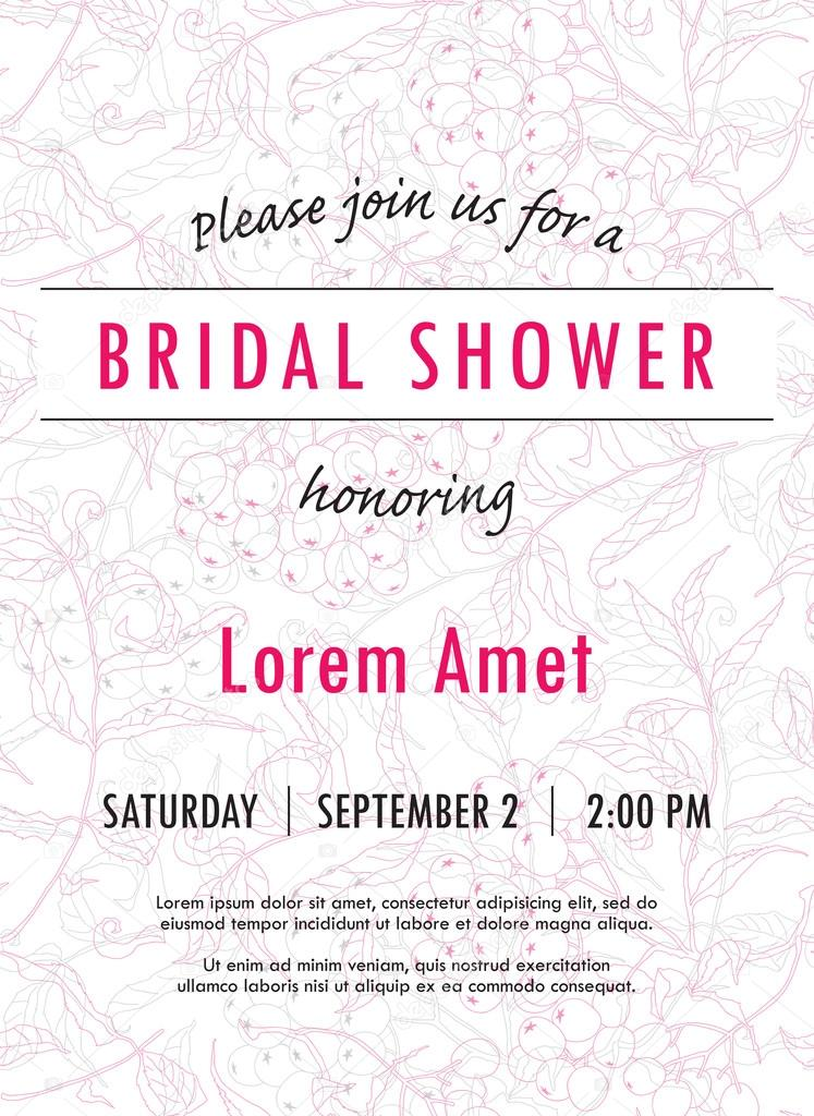 Bridal shower invitation template with rowan twigs and berries vector