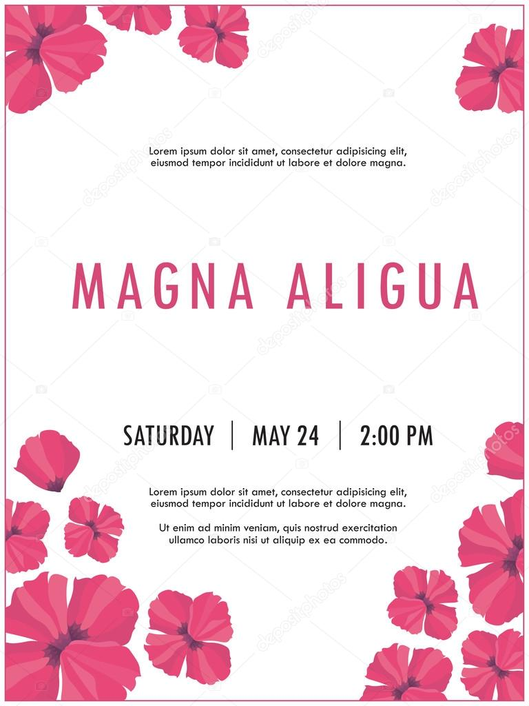 Bridal shower invitation template with delicate poppy flowers vector