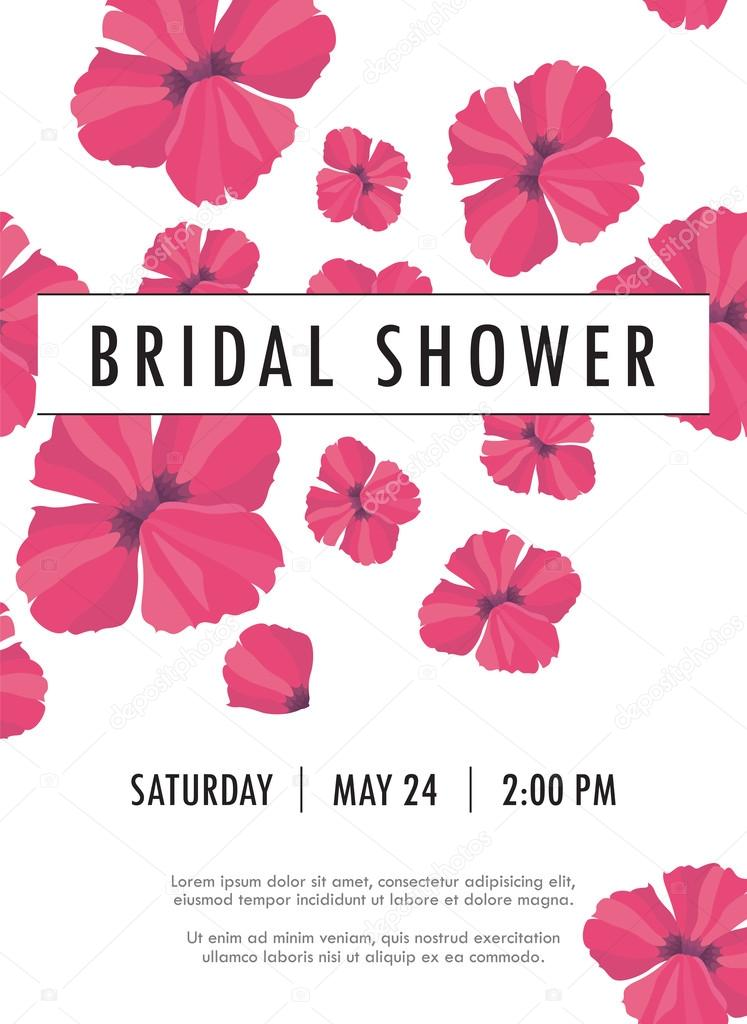 Bridal shower invitation with delicate poppy buds and flowers vector