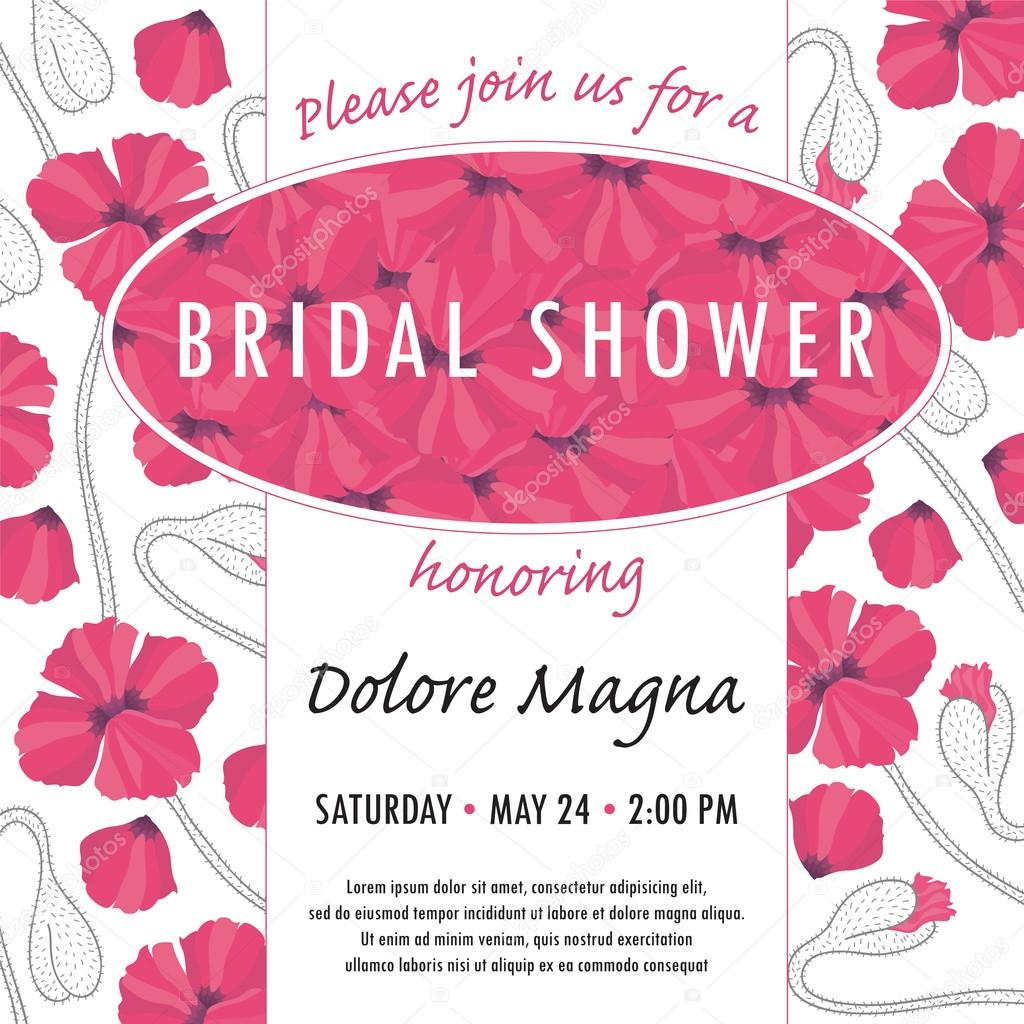 Bridal shower invitation template with delicate poppy buds and flowers vector