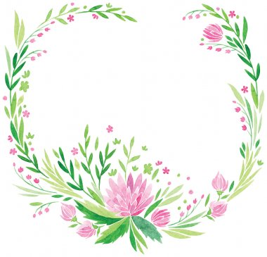 pink flowers and fresh green leaves vector watercolor hand drawing frame or border