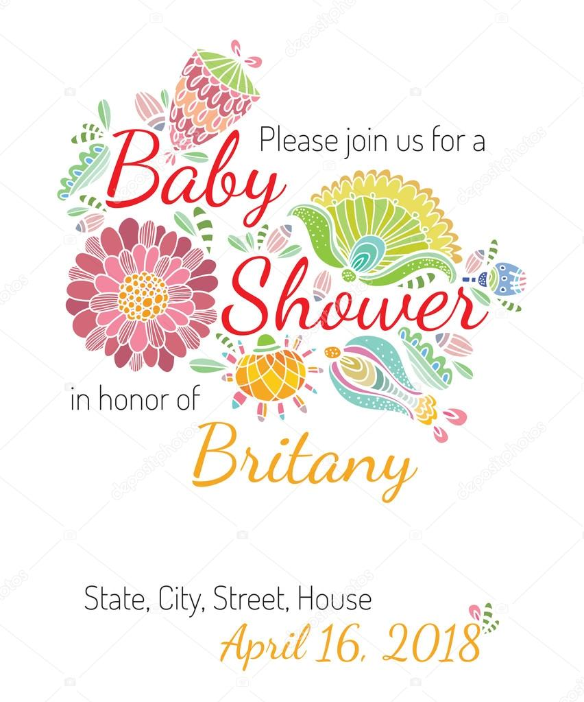Invitation babyshower card flower theme vector