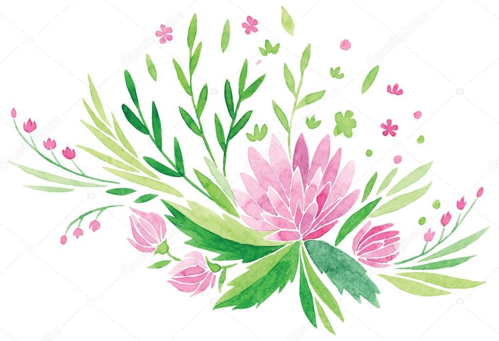 Fotos Dibujo De Flores Flores Rosas Y Hojas Verdes Frescas Vector