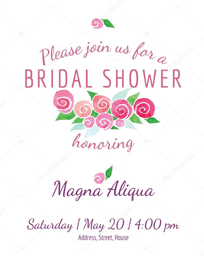 bridal shower invitation vector watercolor flowers leaves of roses - for invitations, cards, tickets, congratulations