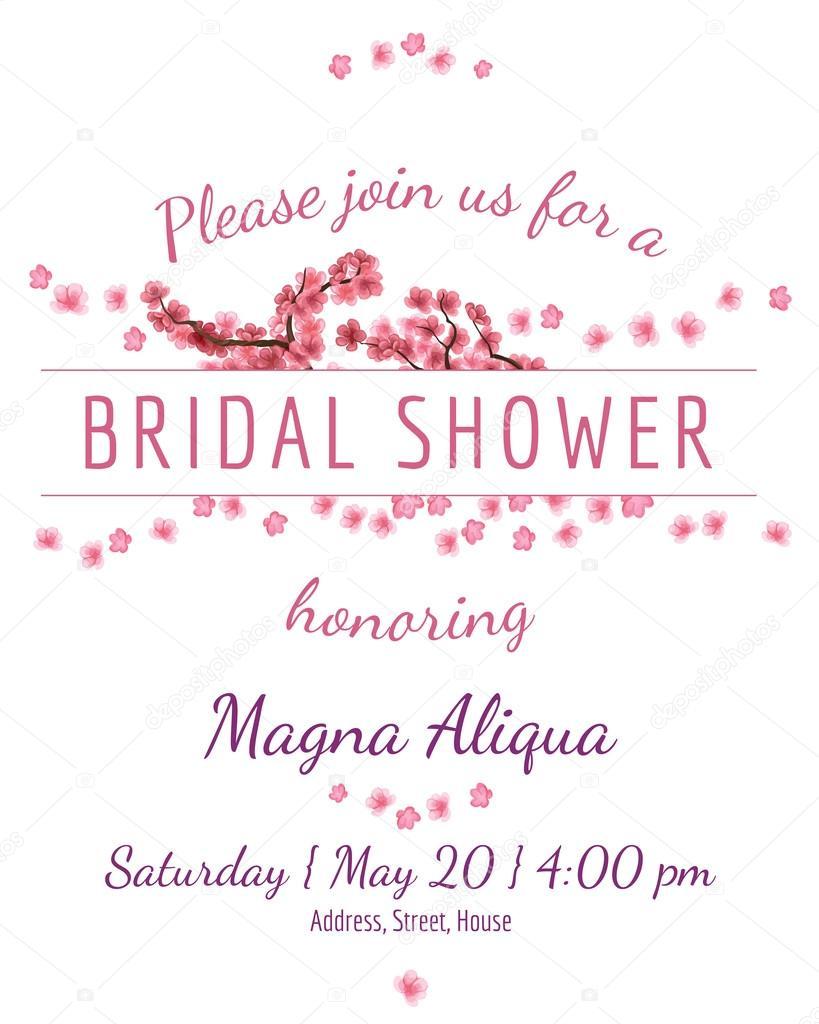 Invitation Bridal Shower Card With Sakura Vector Template Stock - Bridal shower card template