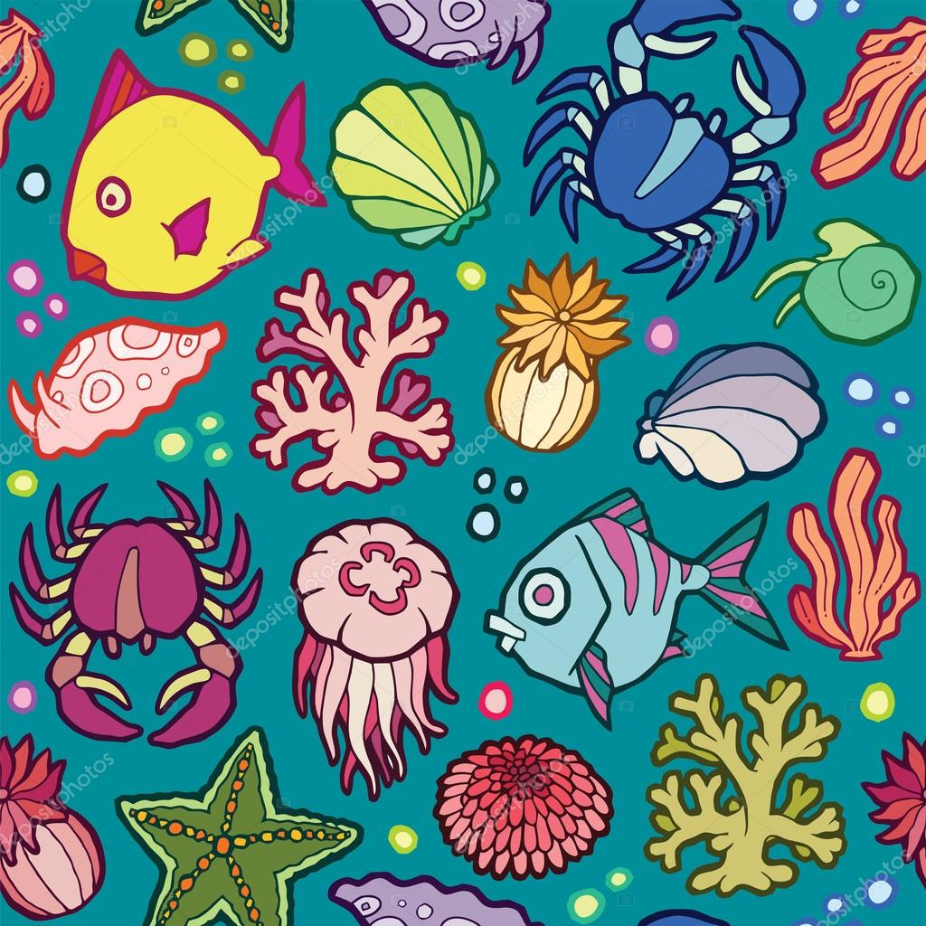 seamless vector pattern marine animals and plants